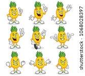 pineapple character pack ... | Shutterstock .eps vector #1068028397