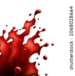 blood red splash isolated on a... | Shutterstock .eps vector #1068028664