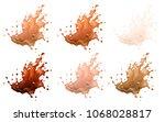 coffee and milk splashes... | Shutterstock .eps vector #1068028817