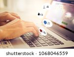 working on laptop  close up of... | Shutterstock . vector #1068046559