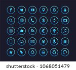 Web icons. Set of blue gradient web icons or signs .Popular round social media icons, money signs, web and mobile icons. Letter f and b. | Shutterstock vector #1068051479
