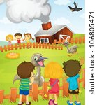 illustration of kids at the farm | Shutterstock . vector #106805471