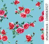 Stock photo seamless pattern of large roses painted in watercolor 1068063527