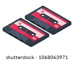audio cassettes isolated on... | Shutterstock .eps vector #1068063971