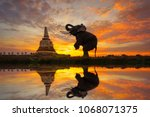 elephants are worshiping the... | Shutterstock . vector #1068071375