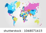 color world map vector | Shutterstock .eps vector #1068071615
