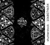 italian pizza and ingredients... | Shutterstock .eps vector #1068074654