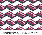 seamless pattern. audio... | Shutterstock .eps vector #1068075821