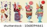three giant milkshakes with...   Shutterstock .eps vector #1068094661