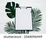 blank notepad or calendar with... | Shutterstock . vector #1068096449
