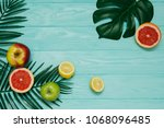 composition with tropical... | Shutterstock . vector #1068096485