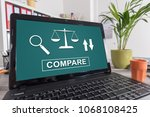 Small photo of Laptop screen with compare concept
