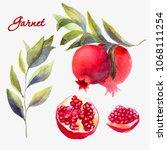 wattercolor garnet set... | Shutterstock . vector #1068111254