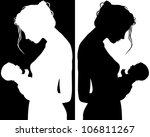 black and white silhouettes of... | Shutterstock .eps vector #106811267