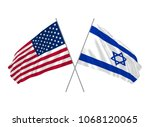 usa and israel state flags... | Shutterstock .eps vector #1068120065