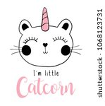 cat unicorn   textile graphic t ... | Shutterstock .eps vector #1068123731