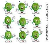 watermelon character vector...   Shutterstock .eps vector #1068125171