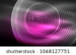 circular glowing neon shapes ... | Shutterstock .eps vector #1068127751