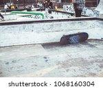 Close Up Skate Park Ramp On A...