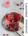 pink peony hot tea with white... | Shutterstock . vector #1068165671