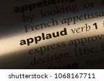 applaud word in a dictionary.... | Shutterstock . vector #1068167711