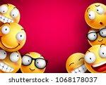 smileys vector background.... | Shutterstock .eps vector #1068178037