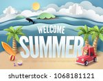 paper art of red car park at... | Shutterstock .eps vector #1068181121