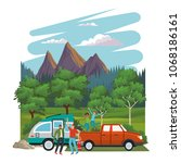 young friends traveling with car | Shutterstock .eps vector #1068186161