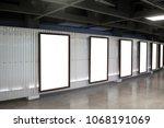 six movie poster frames along... | Shutterstock . vector #1068191069