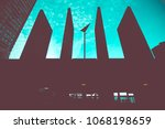 abstract architecture in blue | Shutterstock . vector #1068198659