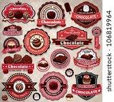 vintage chocolate label set...   Shutterstock .eps vector #106819964