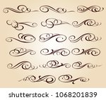 calligraphic elegant elements... | Shutterstock .eps vector #1068201839