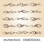 set of decorative elements.... | Shutterstock .eps vector #1068202661