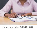 close up of a notebook and... | Shutterstock . vector #106821404