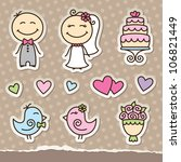 wedding cartoon paper stickers  ... | Shutterstock .eps vector #106821449