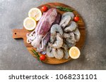 fresh seafood raw  shrimps ... | Shutterstock . vector #1068231101