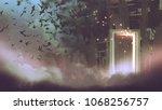 magic door with glowing light... | Shutterstock . vector #1068256757
