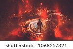 boy walking on magic circles or ... | Shutterstock . vector #1068257321