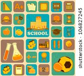 illustration of education icon on collage background - stock vector