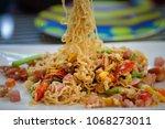 fried mama or stir fried... | Shutterstock . vector #1068273011