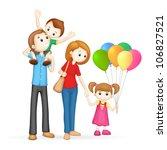 illustration of 3d happy family ... | Shutterstock .eps vector #106827521