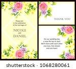 romantic invitation. wedding ...   Shutterstock . vector #1068280061
