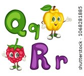 kids education card. letter q... | Shutterstock .eps vector #1068281885