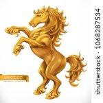 horse  gold emblem. 3d vector... | Shutterstock .eps vector #1068287534