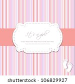 baby girl shower card with foot ... | Shutterstock .eps vector #106829927