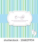 baby boy shower card with foot... | Shutterstock .eps vector #106829954