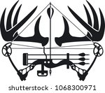whitetail buck antlers and... | Shutterstock .eps vector #1068300971