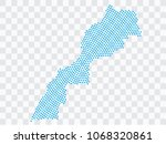 abstract blue map of morocco  ... | Shutterstock .eps vector #1068320861
