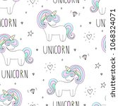 cute unicorn vector pattern | Shutterstock .eps vector #1068324071