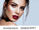 gorgeous young brunette woman... | Shutterstock . vector #1068325997